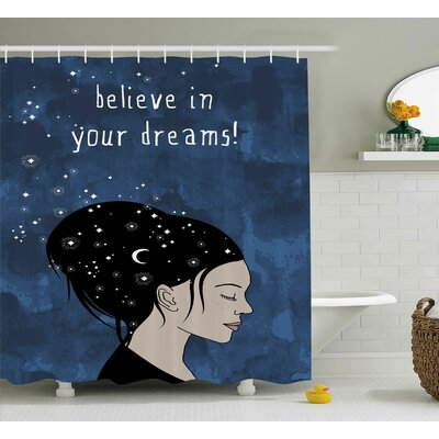 Harrison Dreamy Girl Quote Shower Curtain Size: 69 W x 75 L