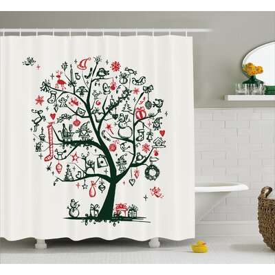 Neven Tree Ornaments Gifts Shower Curtain Size: 69 W x 75 L