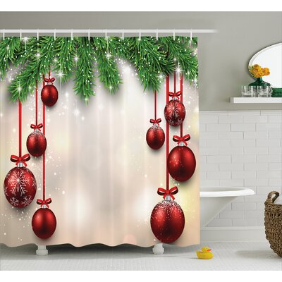 Christmas Red Balls Ribbons Shower Curtain Size: 69 W x 75 L