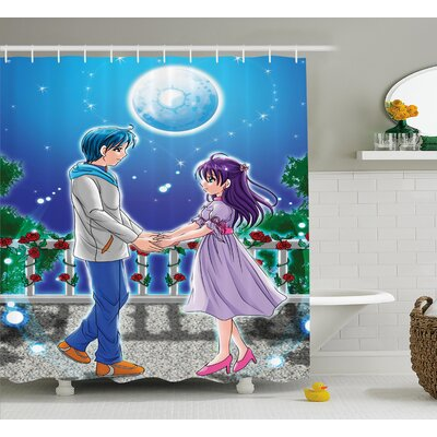 Anime Decor Romantic Manga Shower Curtain Size: 69 W x 70 L