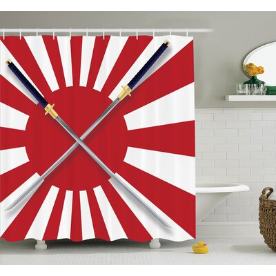 Japanese Flag Crossed Swords Shower Curtain Size: 69 W x 84 L
