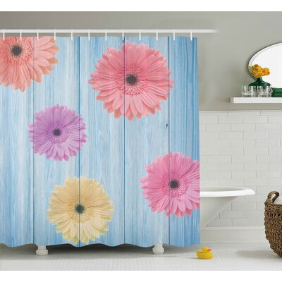 Behnke Wooden Calendula Floret Shower Curtain Size: 69 W x 84 L