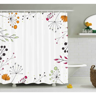 Devonshire Geometric Flowers Floral Shower Curtain Size: 69 W x 70 L