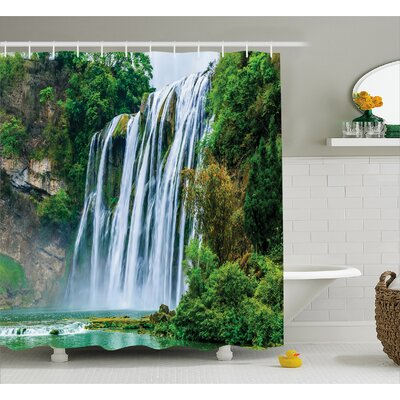 Landscape Green Botanic Nature Shower Curtain Size: 69 W x 84 L