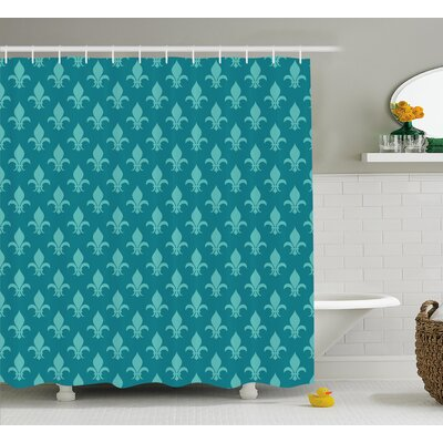Lexington de Lis Arabesque Damask Shower Curtain Size: 69 W x 75 L