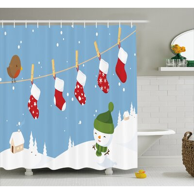 Sybil Socks Hanging Bird Shower Curtain Size: 69 W x 84 L