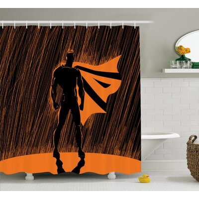 Superhero Super Powered Hero Shower Curtain Size: 69 W x 70 L