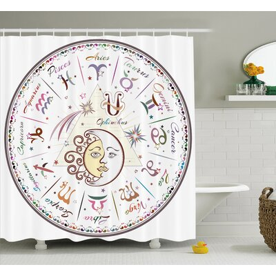 Zodiac Astrological Horoscope Shower Curtain Size: 69 W x 70 L