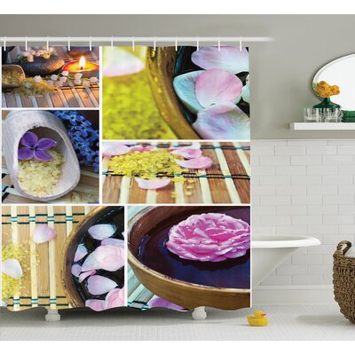 Floral Spa Home Theme Candles Shower Curtain Size: 69 W x 84 L