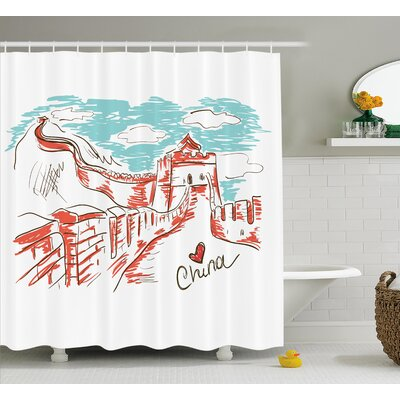 Antonetta Sketchy Chinese Art Shower Curtain Size: 69 W x 75 L