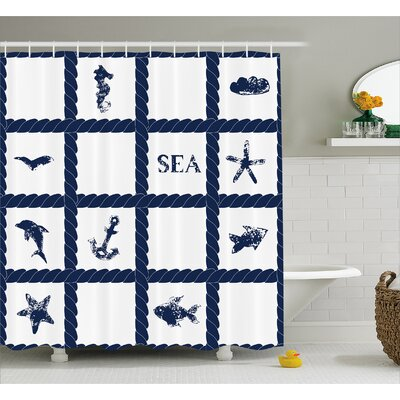Suzie Starfish Anchor Sealife Shower Curtain Size: 69 W x 70 L