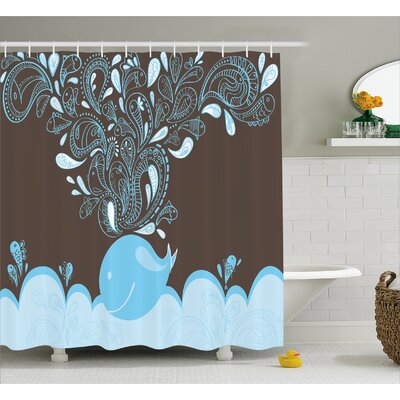 Lottie Indian Batik Sea Whale Shower Curtain Size: 69 W x 75 L