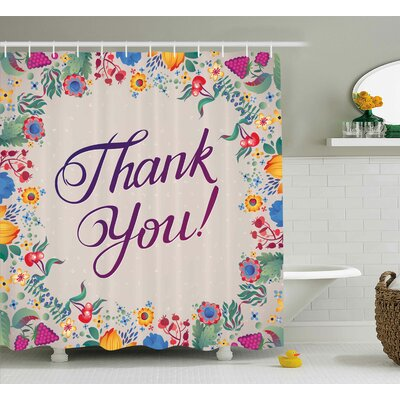 Graves Thank You Decor Festive Shower Curtain Size: 69 W x 84 L