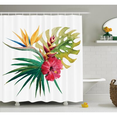 Aquilina Wild Tropical Orchid Shower Curtain Size: 69 W x 84 L