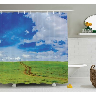 Nature Path in Meadow Rural Shower Curtain Size: 69 W x 84 L