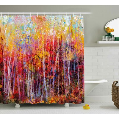 Bartlett Autumn Forest Painting Shower Curtain Size: 69 W x 84 L