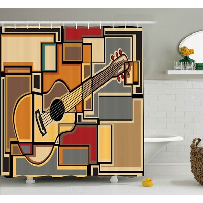 Auburn Geometric Guitar Decor Shower Curtain Size: 69 W x 84 L