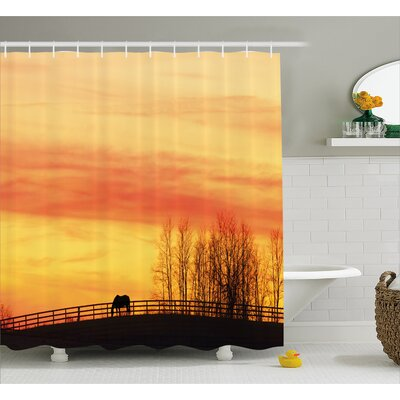 Faye Horses Valley Horizon Shower Curtain Size: 69 W x 70 L