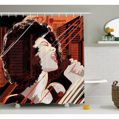 Hazlett Musical Jazz Singer Woman Print Shower Curtain Size: 69 W x 75 L