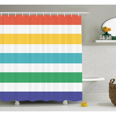 Valoria Rainbow Kids Pattern Shower Curtain Size: 69
