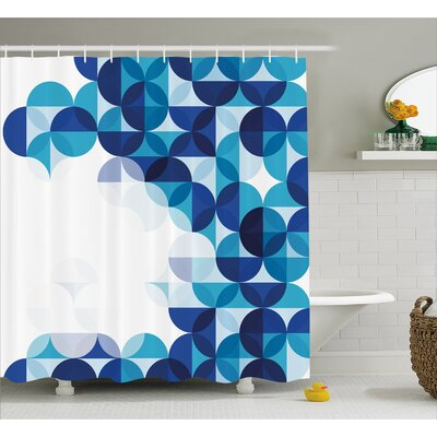 Grafton Modern White Circles Shower Curtain Size: 69 W x 75 L
