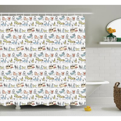 Omari Room Cute Cartoon Animal Shower Curtain Size: 69 W x 75 L