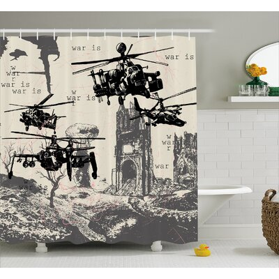 Edgewood Hand Drawn War Scenery Shower Curtain Size: 69 W x 70 L