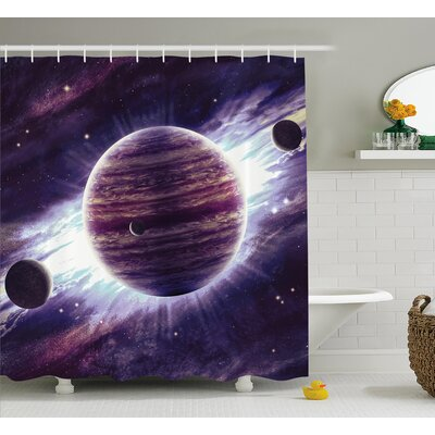 Outer Space Planets Mars Shower Curtain Size: 69 W x 75 L