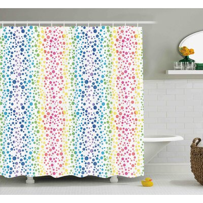 Julia Circles in Wavy Shape Shower Curtain Size: 69 W x 70 L