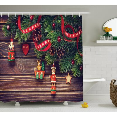 Christmas Vintage Toys Wood Shower Curtain Size: 69 W x 75 L