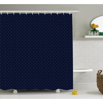 Zetta Blue Dots Retro Decor Shower Curtain Size: 69 W x 84 L