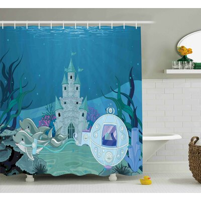 Lottie Fairytale Mermaid Castle Shower Curtain Size: 69 W x 84 L