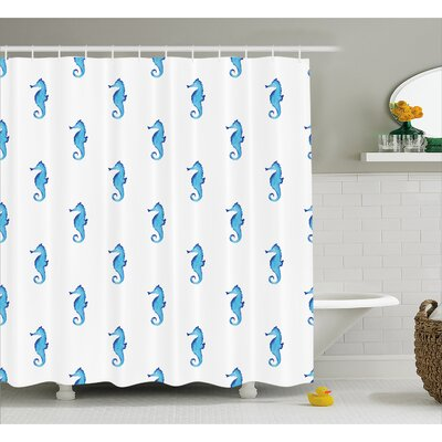 Roxanna Navy Fish Motif Sealife Shower Curtain Size: 69