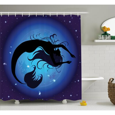 Ocean Aquatic Girl Mermaid Shower Curtain Size: 69 W x 75 L