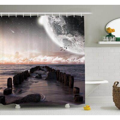 Space Old Pier Sea and Beach Shower Curtain Size: 69 W x 84 L