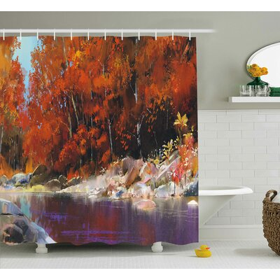 Bartlett Autumn Forest with Rock Shower Curtain Size: 69 W x 75 L