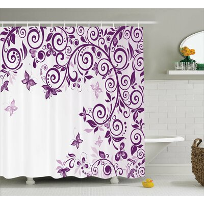 Judah Lilium Floral Branch Shower Curtain Size: 69 W x 75 L