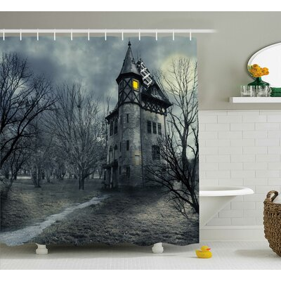 Halloween Decor Haunted House in Black Shower Curtain Size: 69 W x 75 L