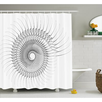 White Authentic Geometric Art Shower Curtain Size: 69 W x 75 L