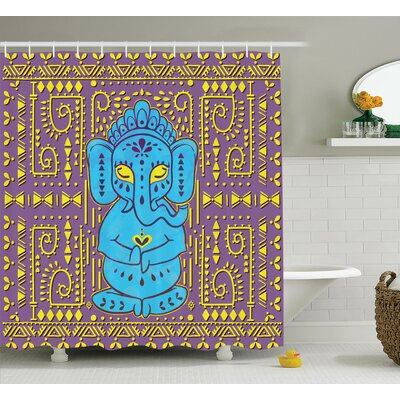 Delmer Elephant God Tribal Art Shower Curtain Size: 69 W x 70 L