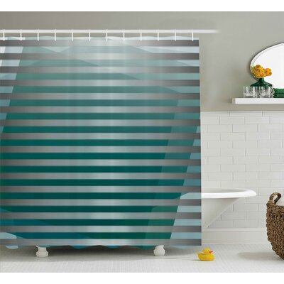Enrique Graphic Striped Media Shower Curtain Size: 69 W x 75 L