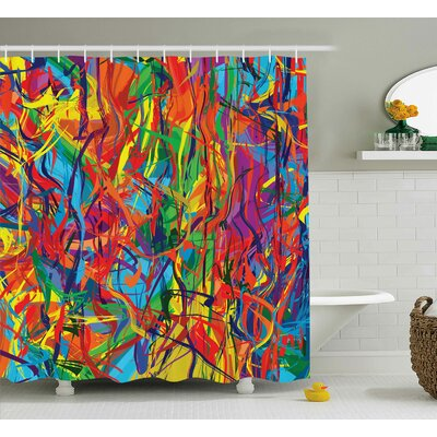 Florance Rainbow Circled Pattern Shower Curtain Size: 69 W x 70 L