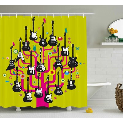 Lucius Guitars for Rock Stars Shower Curtain Size: 69 W x 70 L