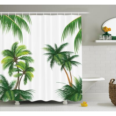 Aquila Coconut Palm Tree Plants Shower Curtain Size: 69 W x 84 L