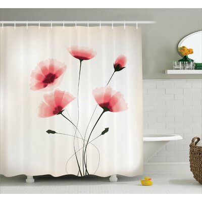 Colvin Romantic Buds Flowers Shower Curtain Size: 69 W x 75 L