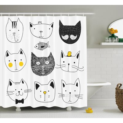 Everly Stylish Cats with Fish Shower Curtain Size: 69 W x 70 L