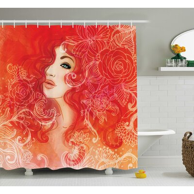 Red Lady Hair Floral Ornament Shower Curtain Size: 69 W x 84 L