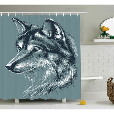 Harper Wild Exotic Wolf Image Shower Curtain Size: 69 W x 75 L
