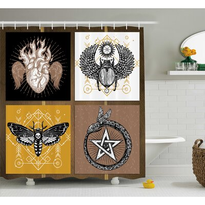 Bohemian Authentic Occult Art Shower Curtain Size: 69 W x 75 L