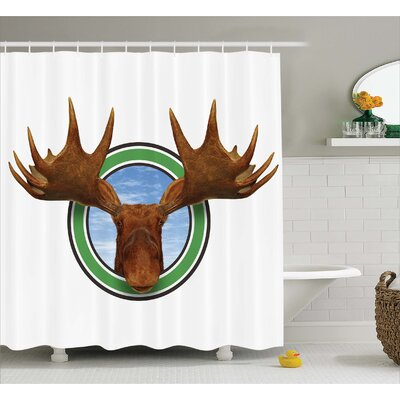 Humor Northern Fauna Deer Shower Curtain Size: 69 W x 84 L